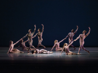 NYCB in Justin Peck's Belles-Lettres at the 2014 Fall Gala, with costumes by Mary Katrantzou. Photo credit Paul Kolnik