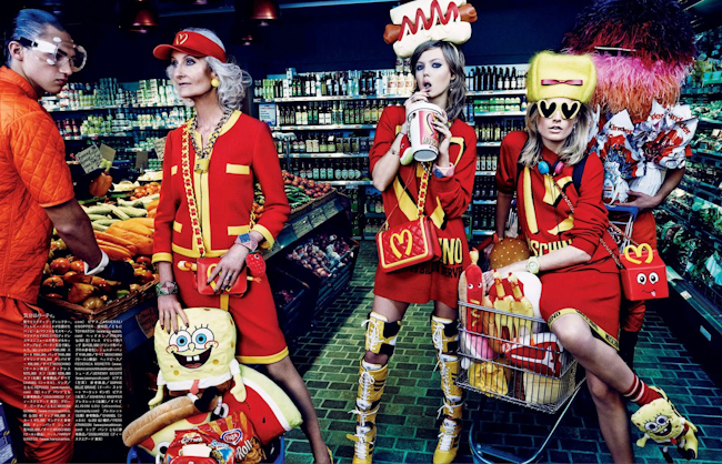 VOGUE JAPAN Hanne Gaby Odiele & Lindsey Wixson in My Market Day by Giampaolo Sgura. Anna Dello Russo, October 2014, www.imageamplified.com, Image Amplified