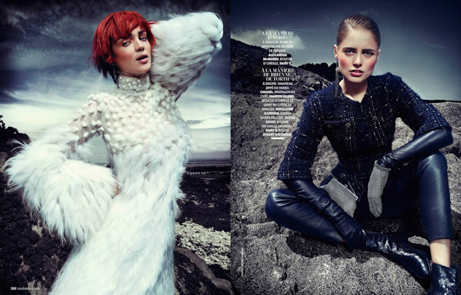 MADAME FIGARO FRANCE Mariska Van Der Zee & Carla Crombie in Heroiques FAntaisies by Jorgen Gomnaes. Agnes Poulle, August 2014, www.imageamplified.com, Image Amplified