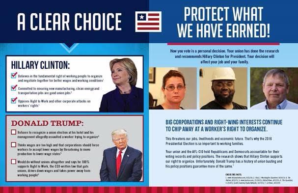Florida AFL-CIO drops mailer in praise of Clinton   Naked