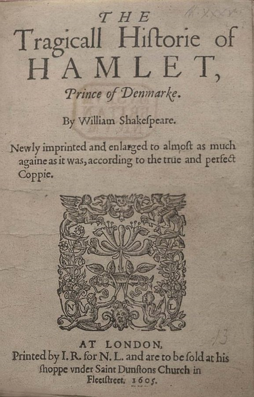 Original title page of Hamlet 1605 by Shakespeare