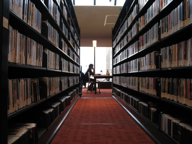 DVD compact shelving shown fully open as seen on the 5th floor of the Toronto Reference Library