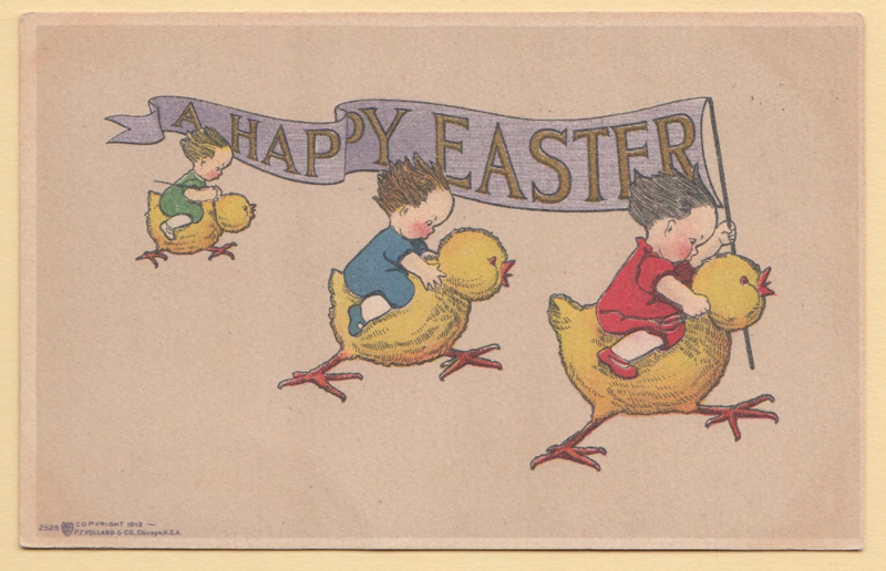 Happy Easter vintage postcard by P.F. Volland publisher Chicago, copyright 1912 # 2525 mailed 1913