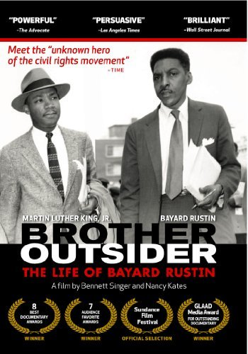 "Brother Outsider the life of Bayard Rustin DVD A documentary examining the life of Bayard Rustin, one of the first ""freedom riders,"" an adviser to Dr. Martin Luther King, Jr. and A. Philip Randolph, and an organizer of the 1963 March on Washington. However, Rustin was forced to play a background role in landmark civil rights events because he was homosexual. This feature-length portrait unfolds both chronologically and thematically, using interviews with others, and Rustin's own voice, taken from his writings, papers, correspondence, and recorded interviews."