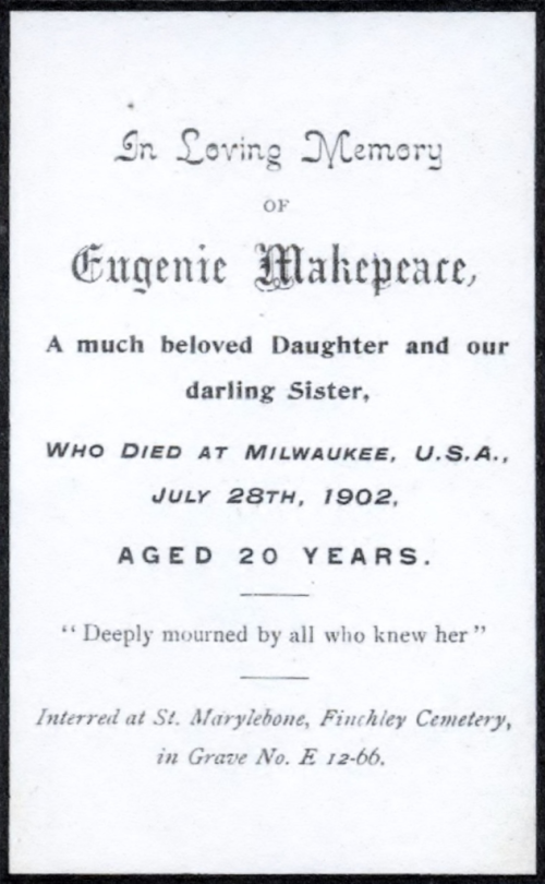 Eugenie Makepeace's funeral card
