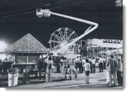 This cable car, where pleasure-seekers at the CNE can get a bird's-eye view of all the fun of Canada's largest exhibition became a prison last night when 39 visitors were trapped for several hours after a jammed cable stalled 15 cars and left them swaying 100 feet up. 1973