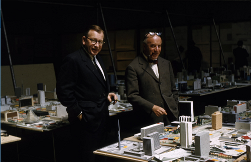 Eero Saarinen and Ernesto Rogers, judges for the City Hall and Square Competition, Toronto, 1958