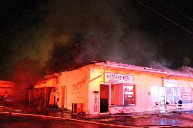 Strip mall fire