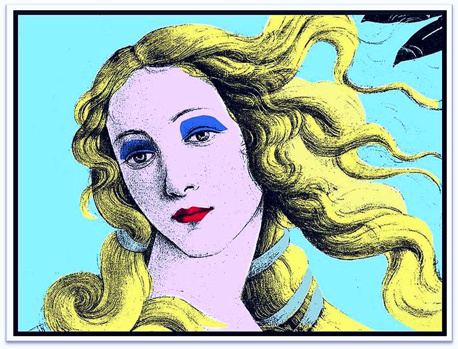 Warhol según Botticelli | Postal de Clara María Villalba. | Estudiante de la asignatura Dibujo Artístico en el Instituto de Enseñanzas a Distancia de Andalucía (IEDA).