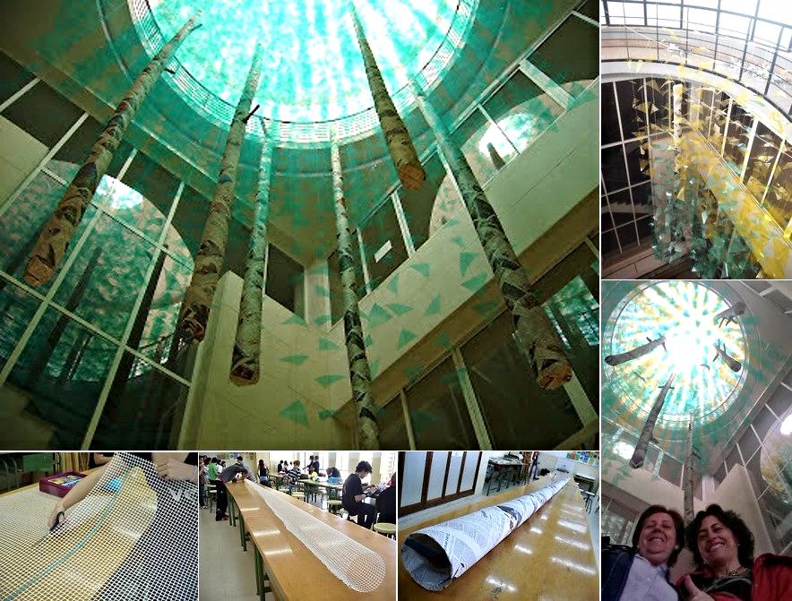 Trabajando la 3ª y 4ª piel del Modelo de Hundertwasser: el centro educativo donde se desarrolla y ubica el proyecto  (El IES 'Ramón del Valle Inclán' de Sevilla). Profesora-Comisaria del proyecto: Angustias Chía Trigos