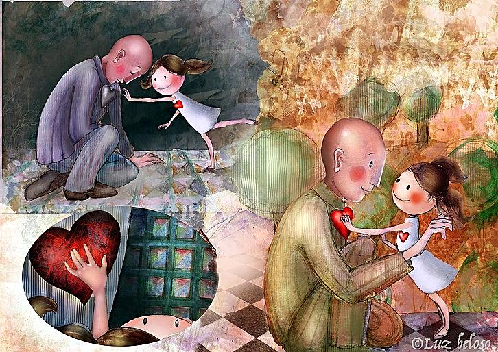 Ilustración de Luz Beloso para el cuento 'A nena á que non deixaban ser feliz' cuento escrito por Miguel Ángel Alonso Diz