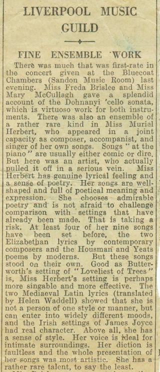Review of a performance given by Muriel Herbert in Liverpool