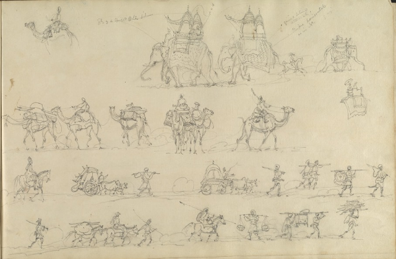 Robert Smith, Sketches on the Line of March, 1814. Pencil on paper. 27 by 44.5 cm. WD312, f.25v.
