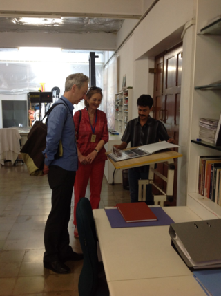 BL Chief Executive Roly Keating and Baroness Tessa Blackstone visiting the CMSVS conservation studio