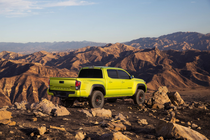 2022 Toyota Tacoma TRD Pro Rear Angle In Mountains
