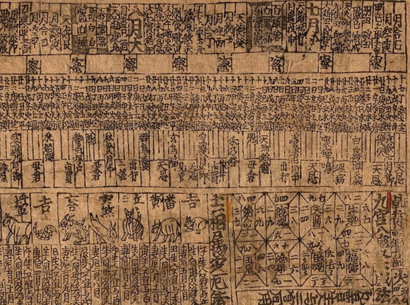 Part of a printed almanac from Dunhuang dating from AD 877. Babylonian, Persian and Indian influences can be seen including the animal zodiac. (Or.8210/P.6)