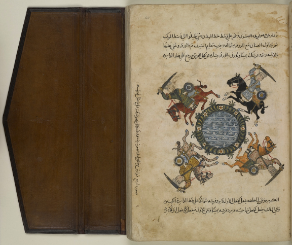 'Illustration of four horsemen, each one with a sword and a hide shield, and each one carrying his shield on his horse's croup' [صورة أربع فوارس مع كل واحد منهم سيف ودرقة وكل منهم درقته على كفل فرسه] (BL Add.18866, f. 140)