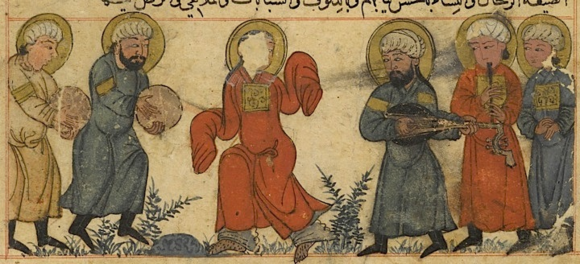 Musicians and a dancer perform during a drought at a dried-up spring to make the water flow again. (Or.14140. f. 63v)