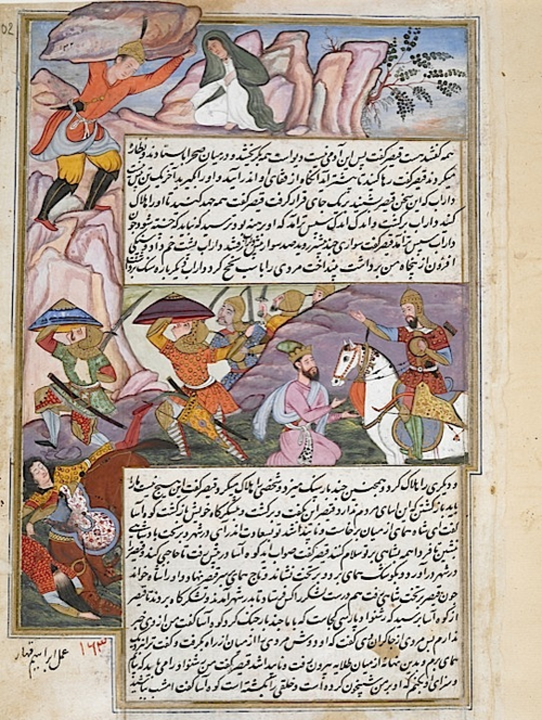 Darab goes to the rescue of his mother Queen Humay who has been captured by the Caesar of Rum (ie. the king of Macedonia). Here they hurl rocks at the king's army. Artist: Ibrahim Qahhar (Or.4615, f 102r)