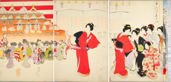 Yōshu Nobuchika 楊洲周延 (1838-1912). 'Hina-doll viewing' (雛拝見 Hina haiken), which is a part of 'The Great Interior of the Chiyoda Castle' (千代田の大奥 Chiyoda no Ōoku), Tokyo : Fukuda Hatsujirō, 1896. Nishikie (錦絵) wood block print. Photo National Diet Library