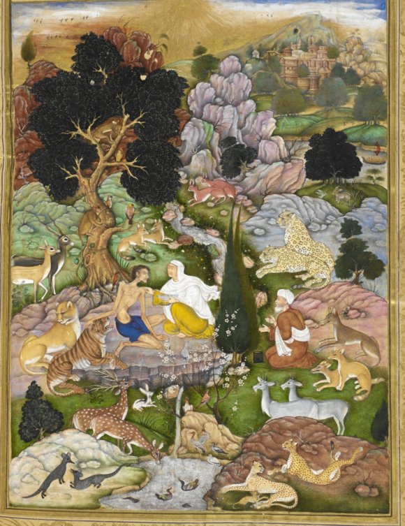 In this copy of the same work, commissioned for the Mughal emperor Akbar and dated AH 1004/1595-6, Majnun affectionally strokes a tiger - you can almost see him purring. Beside him lies a lion while pairs of cheetahs and leopards relax alongside animals who would normally be their prey. Artist: Sānvalah (Or.12208, f. 150v)