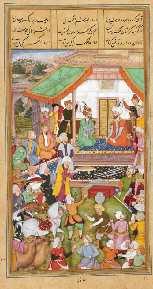 The Mughal Emperor Humayun's meeting with Shah Tahmasp of Iran in 1544 by the artist Sanvala, 1602-3.Note what are probably the painter's instructions partially covered in the lower margin (British Library Or. 12988, f. 98r)