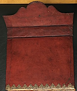 Another work commissioned by Tipu, his army regulations Fatḥ al-mujāhidīn by Zayn al-Dīn Shūshtarī. The scalloped flap is the only example I have found in the collection and unlike IO Islamic 3351 above, it was designed to lie on the outside. Note also the hole, presumably for ties. (IO Islamic 713)
