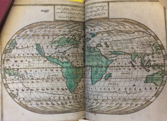 "A map of the world, including California as a green island in the top left quadrant of the map. The ""Sea of Peru"" is also listed as being along the coast of Central America, while the Gulf of Mexico is labelled the ""Sea of Mashigho"". (BL Or.80.b.11)"