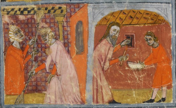 Sister Haggadah. Barcelona, Spain, 2nd or 3rd quarter of the 14th century. Similar to the Golden Haggadah, the female members of the family are sweeping the house from floor to ceiling, while the head of the family is sweeping the cupboards and brushing crumbs into a bowl held by a small boy. Full manuscript can be viewed online here (British Library Or.2884 f.17r )