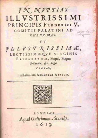 Title-page of Abraham Aurelius's In nuptias illustrissimi principis Frederici V. comitis Palatini et illustrissimae lectissimaeque virginis Elizabethae