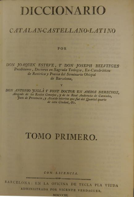Title-page of 'Diccionario Catalan-Castellano-Latino'
