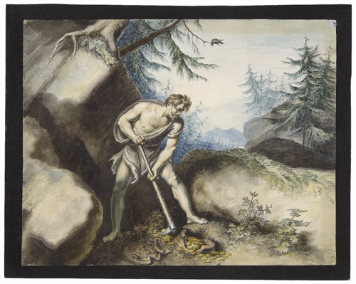 Timon of Athens burying his gold in a remote mountainous region