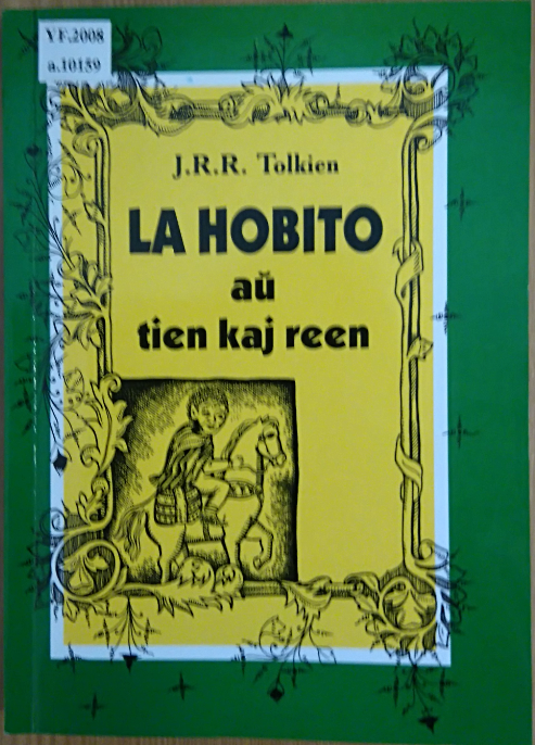 Cover of an Esperanto translation of 'The Hobbit' showing Bilbo Baggins riding a pony