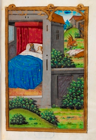 Merlin's mother lies in bed with a devil while another devil kills some sheep