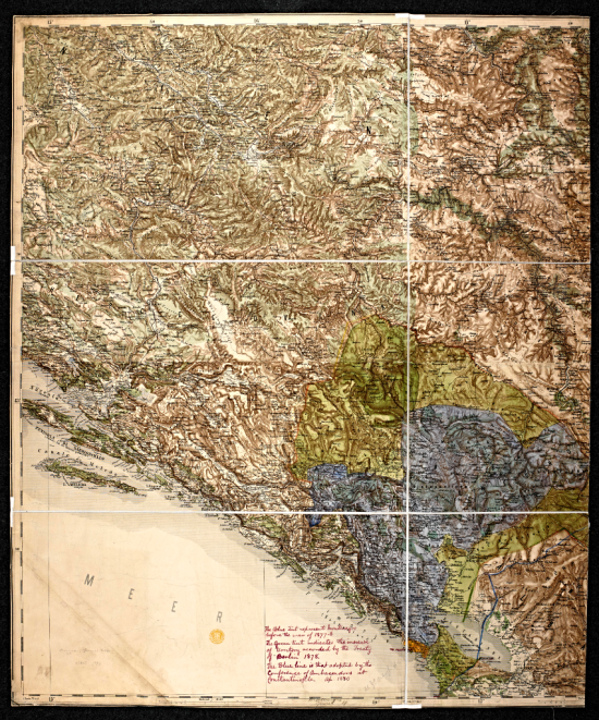 Relief map of Montenegro and its adjacent territory, coloured to show the changing boundaries in the late 1870s