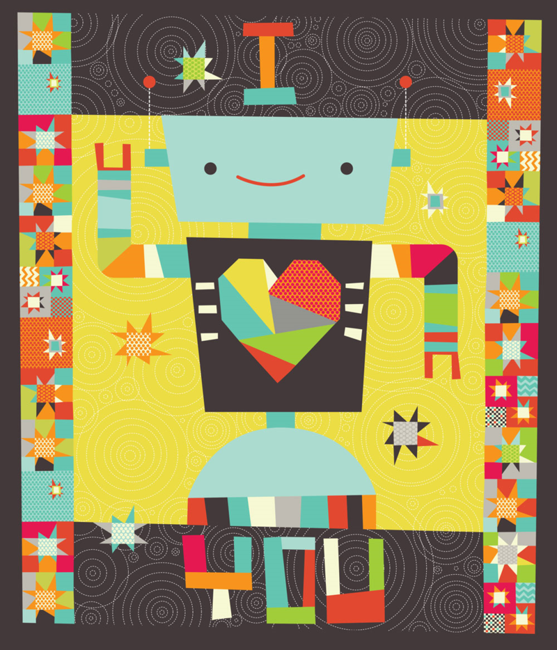 A Robot in Love Cheater Quilt by Cynthia Frenette