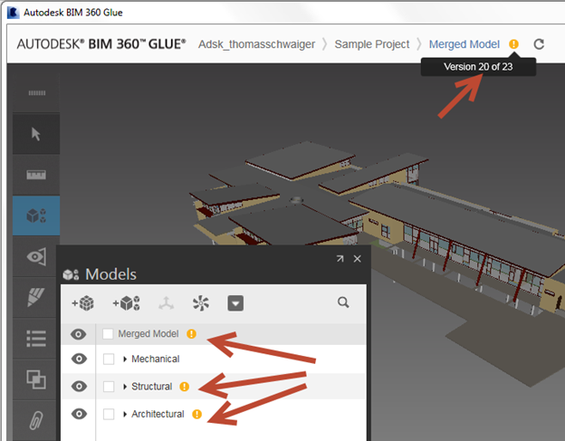 Displaying a previous model version in BIM 360 Glue