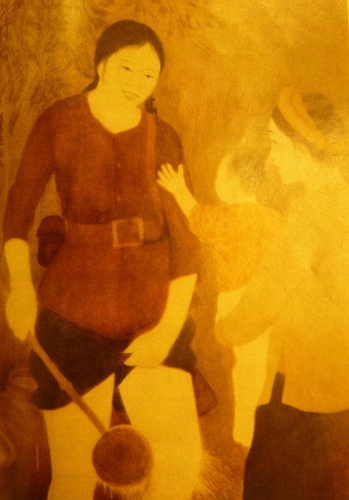 Mother heads to the Alert Unit. Silk painting. Aritst: Nguyễn Phan Chánh. Báo Ảnh Việt Nam, 1972, no.167. British Library, SU216(2)