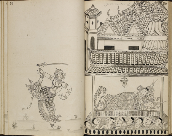 Hanuman facing Ravana asleep in his palace. This drawing is from a 19th century album of ink drawings by an anonymous Thai artist of scenes from the Ramakien, with some text captions in Khom script (a variant of the Cambodian Khmer script used in Thailand). Hanuman can be seen with his sword, teasing Ravana who is fast asleep in his palace after having abducted Sita. The palace resembles 19th century architecture in Bangkok. British Library, Or.14859, pp. 58-59