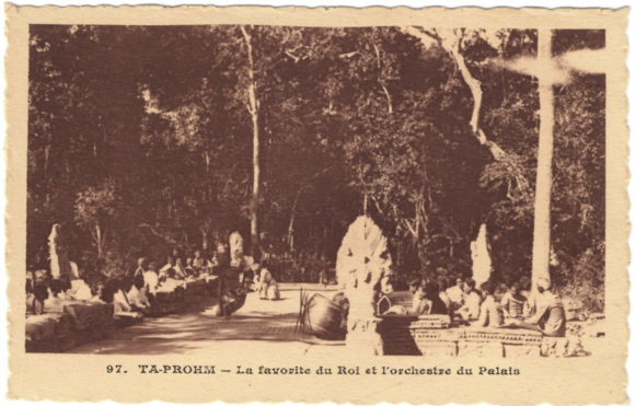 Royal Reamker performance, accompanied by the royal orchestra, at the ancient site of Ta Prohm, one of the temples of Angkor.  Postcard from around 1915 published in Paris by the Anciens Etablissement Gillot, from a collector's album of postcards from Laos, Cambodia, Burma and Siam.  British Library, ORB. 30/6309, p. [16]
