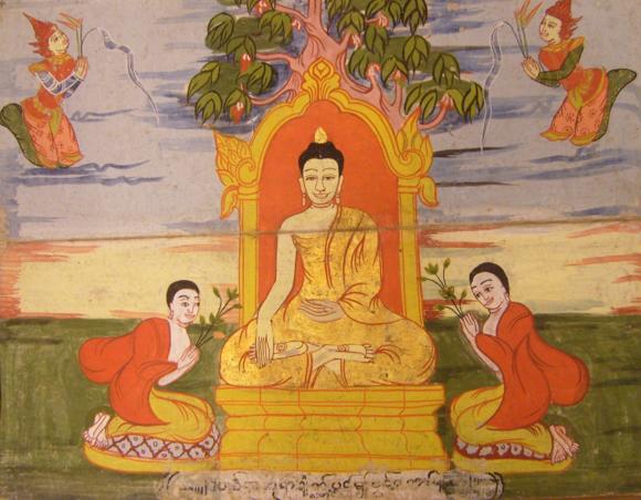 Dīpaṅkara Buddha attained Enlightenment under a Pipphali tree. British Library, Or. 14823, f. 4.