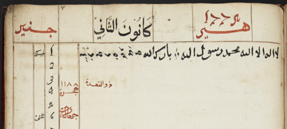 The first entry in Sultan Ahmad al-Salih's diary: on 1 January 1775 he wrote, in Bugis and Arabic, 'I started writing this diary. God's blessing. There is no god but God, Muhammad is His Messenger.'  At top left in red is the month Janir (from the Portuguese Janeiro); in the middle is the Ottoman month Kānūn al-thānī; on on the right is the year in the Christian Gregorian era, hir 1775. British Library, Add. 12354, f. 6v (detail).