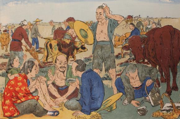 A detail from Sheng chan ji hua (生產計劃), 'Making a plan', by Liu Jilu (劉繼鹵), of Tianjin. Revolutionary nian hua, published in 1950 by Zhong hua quan guo mei shu gong zuo zhe xie hui (中华全國美術工作者拹會), 'The Chinese National Fine Art Workers' Association' in Beijing (北京) and distributed nationwide by Xin hua shu dian (新華書店), Xin hua ['New China'] bookshops. British Library, ORB.40/644 (1)