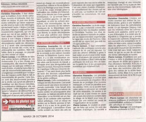 Courrier de l'Ouest mardi 28 oct 2014 PAGE 1 INTERIEURE N°3 sous les photos