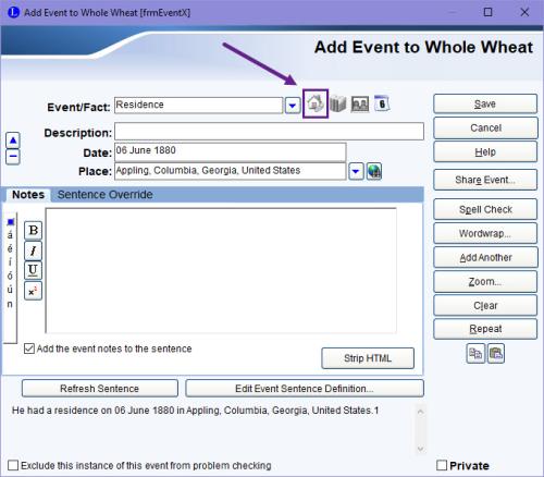 Custom event address