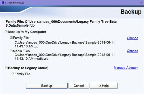 Backup screen