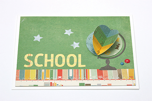"3D Globe card by Courtney Kelley featuring the ""Teacher's Pet"" collection and designer dies by #EchoParkPaper!"
