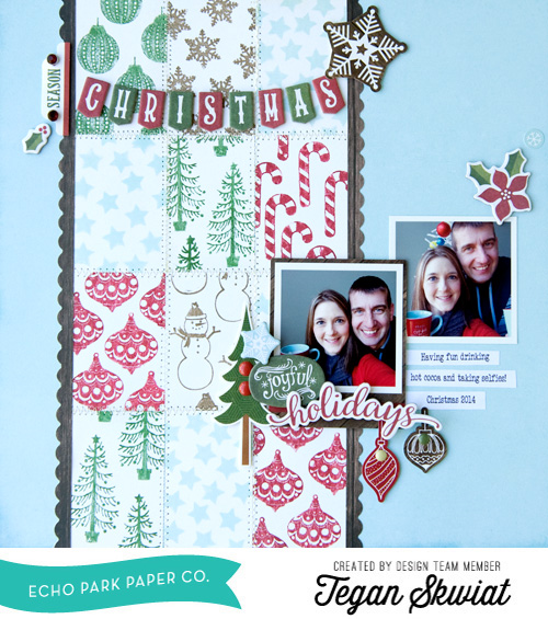 "DIY Scrapbook Background with our Designer Stamps!  Designer Tegan Skwiat created this fun scrapbook page with our ""The Story of Christmas"" collection. Check out her blog post for DIY tips with stamps!"