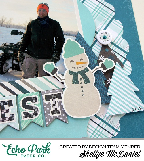 """Create a layout featuring your cutest snowman like this one by Shellye McDaniel for #EchoParkPaper with their """"Hello Winter"""" collection.  See how to use stickers, dies, and digital die-cuts to create this fun page!"""