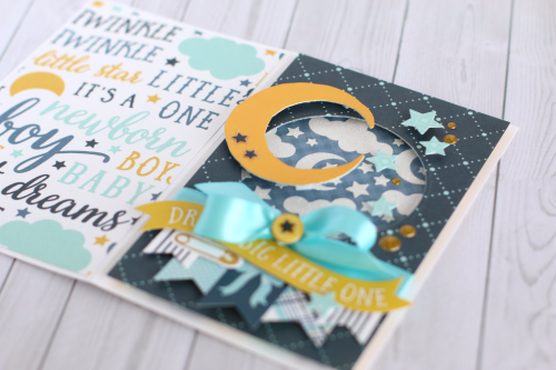 "Create this sweet baby boy card with the  ""Rock-A-Bye Baby Boy"" collection from #CartaBellaPaper. Anya Luncenko also used the designer stencil from this collection to create a unique look!"